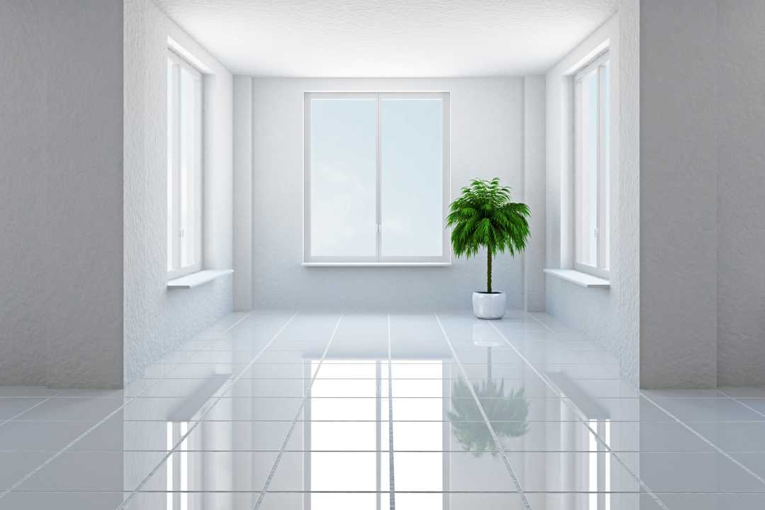 Polished white tile flooring