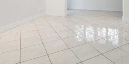 Tile and grout on flooring