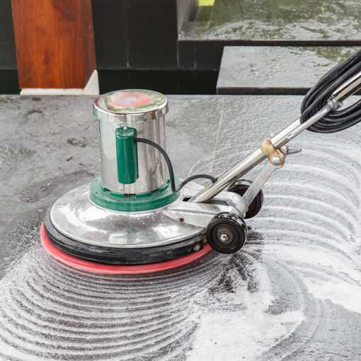 Polishing a stone floor
