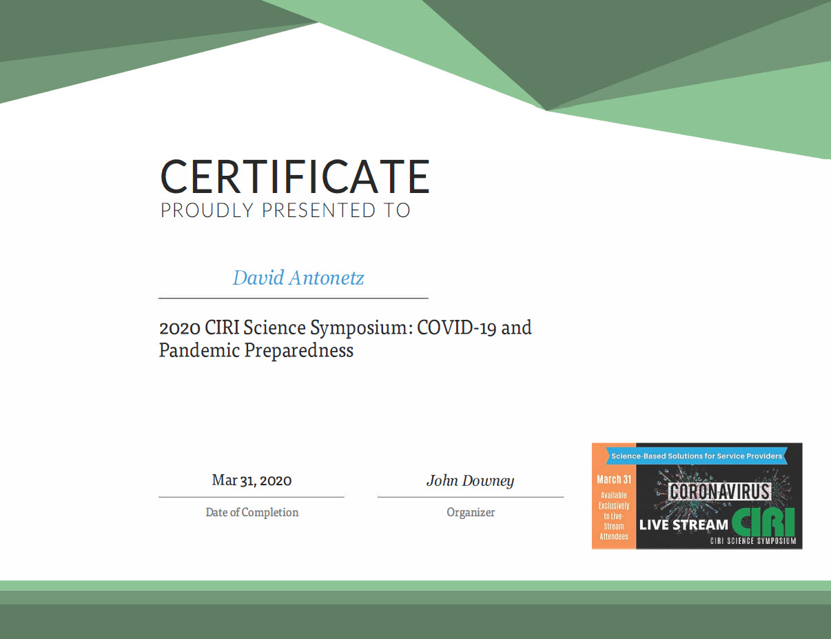 CIRI Certificate for David Antonetz